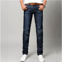 2016 fashion blue jeans male solid color pencil long Slim Fit Men Jeans explosion models Slim
