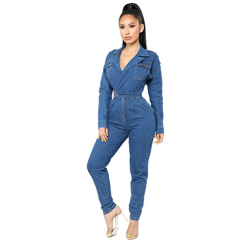 aa22a6447d44 Women Denim Jumpsuit 2019 Ladies Long Sleeve Jeans Rompers Female Casual  Plus Size Denim Overall Playsuit