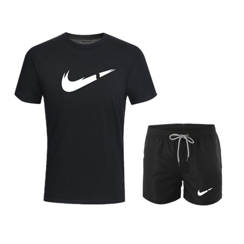 New Black Cotton Casual Men's Suit T-shirt + Shorts Men's Brand Clothing Two-piece Sportswear Gym Exercise Fitness Suit