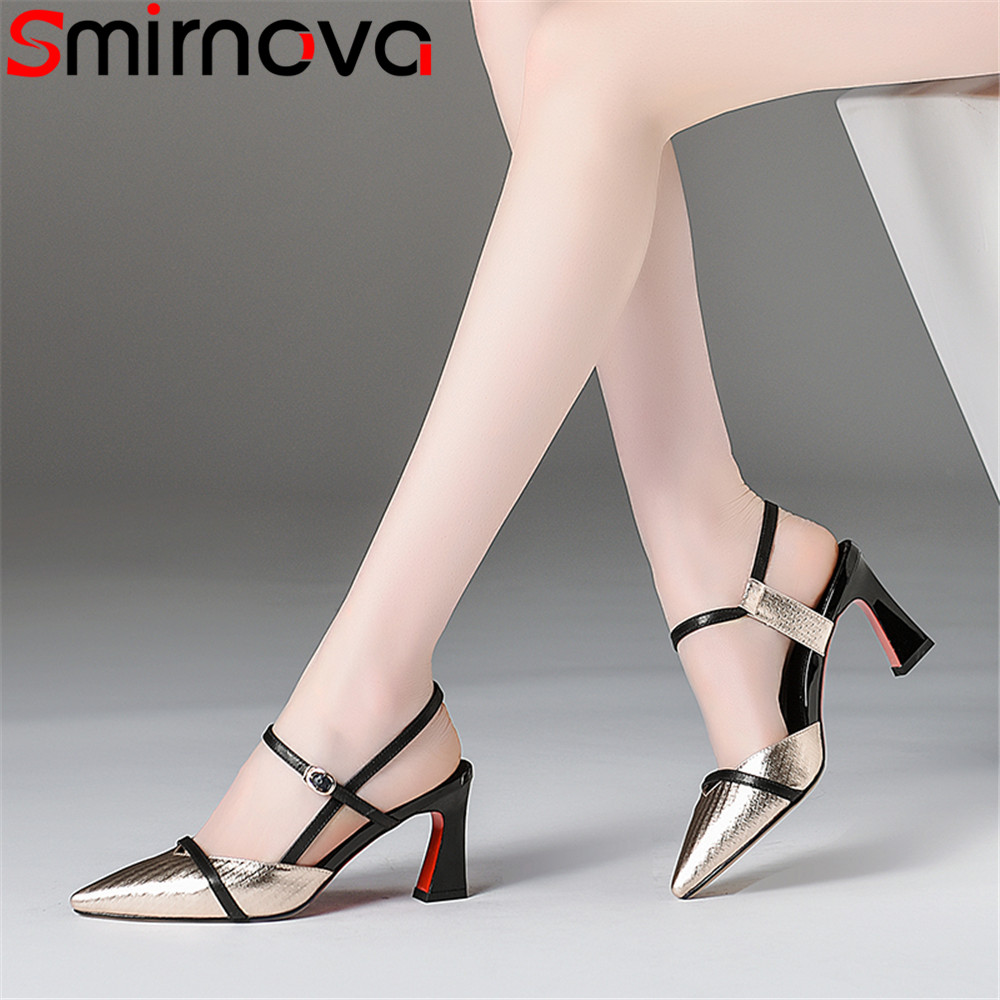 Smirnova big size summer new shoes woman pointed toe elegant sandals women wedding shoes genuine leather