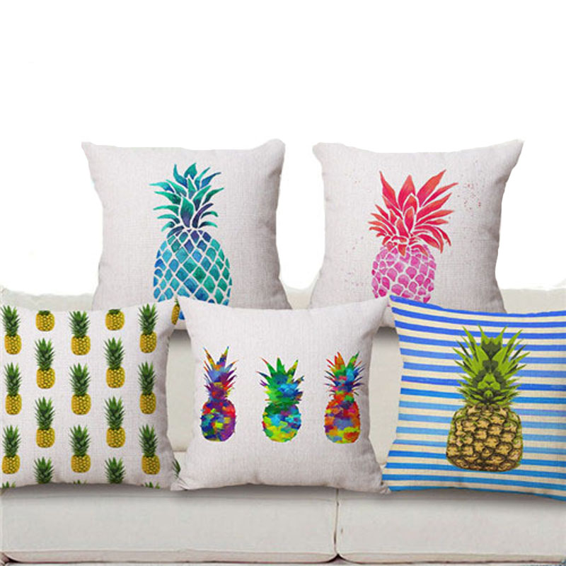 18 Square Pineapple Flower Birds Custom Pillows Cover Geometry Baby Sofa Decoration Gift Customized Drop Shipping