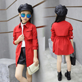 Kids Girls Outerwear Spring and Autumn Casual Children's Trench Red Grey