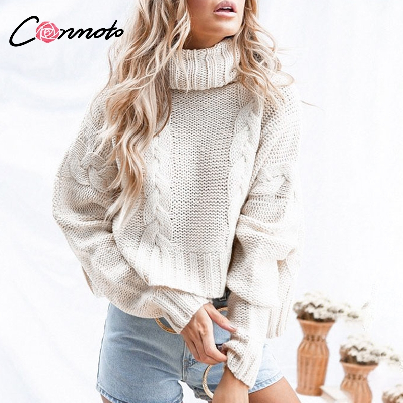 Image 3 - Conmoto Harajuku Turtleneck Crop Sweater 2018 Autumn Winter Long  Sleeve Thick Solid Oversized Pullover White Kintted JumperPullovers