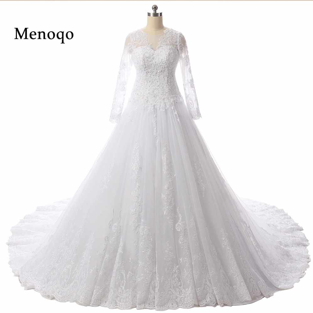 DB24702 Ball gown Applique Lace Long sleeve Court Train Buttons Back 2019 Glamorous Real Picture wedding dresses top selling