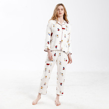 2019 Miarhb  Sweetie Cartoon Pajamas Female Satin Snoopy Lapel homewear Set Can Outer Wear womens Nightgown