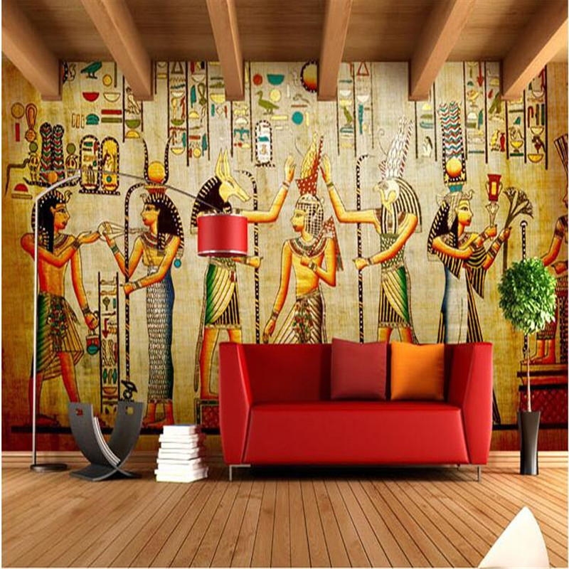 Mural wallpaper for living room retro ancient egyptian for Egyptian wallpaper mural