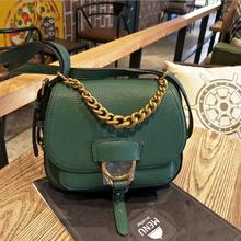 2016 women real   leather chain bag  messenger bag with meatl chain belts brand luxury shoulderbag
