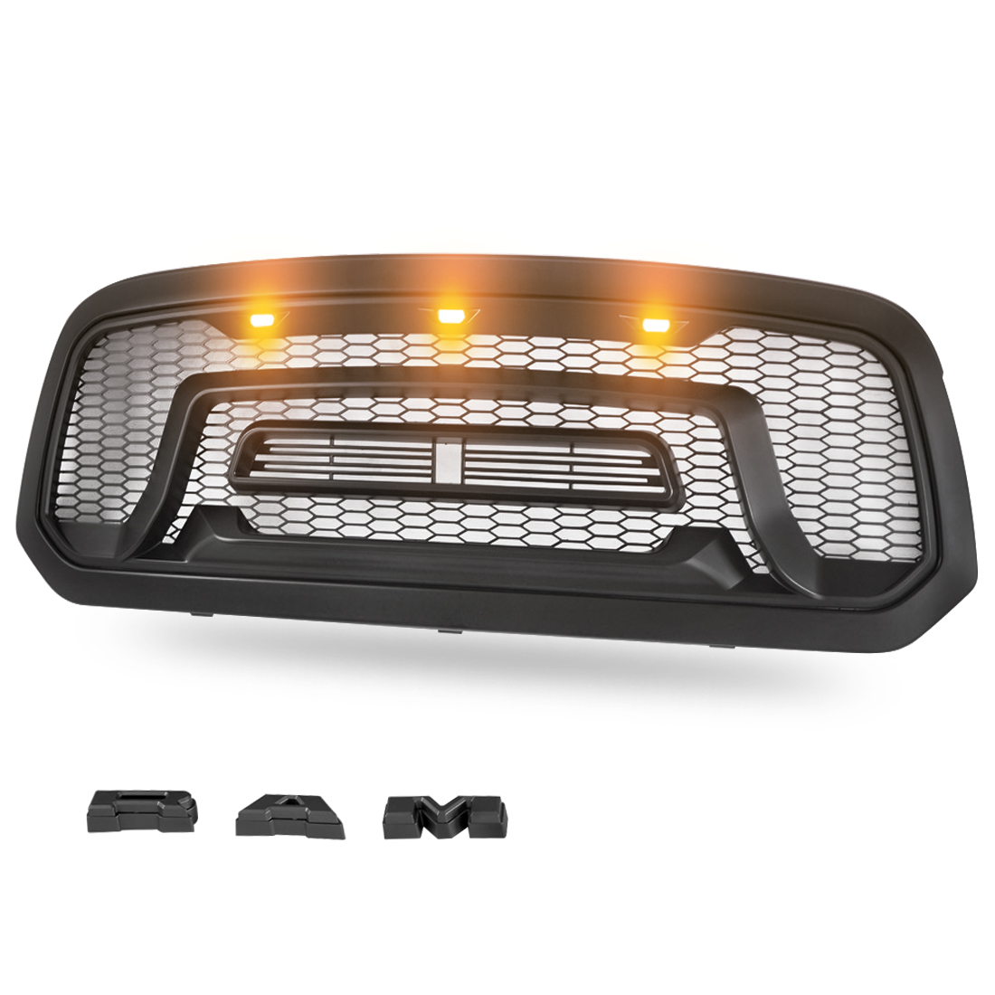 Matte Black Mesh Replacement Grill For 2013-2018 Dodge Ram 1500 Rebel Style Front Grille Honeycomb Bumper and Dodge Ram 1500 Accessories With Three LED Amber Lights