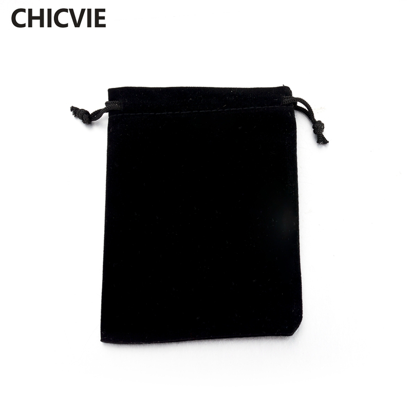 CHICVIE Black Fabric Pounches For Necklace Bracelet Earrings Jewelry Packaging SBG160001