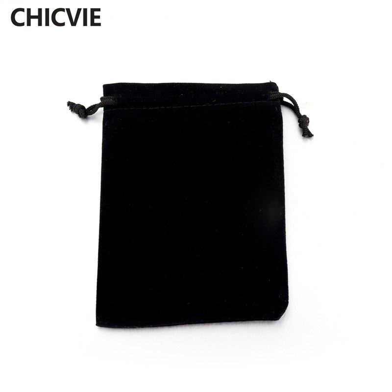 Chicvie черная ткань пакетов для ожерелье браслет серьги упаковки SBG160001 ...