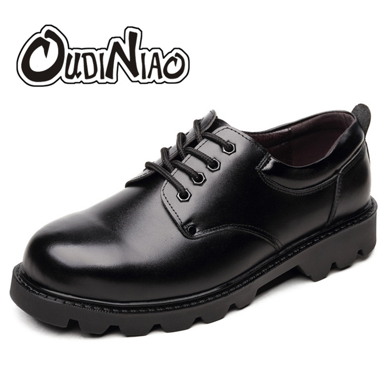 OUDINIAO Mens Shoes Casual British Genuine Cow Leather Men Shoes Safe Footwear Army Officer Classic Shoes