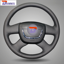 BANNIS Black Leather Steering Wheel Cover for Skoda Octavia Superb 2012 Fabia Skoda Octavia a 5