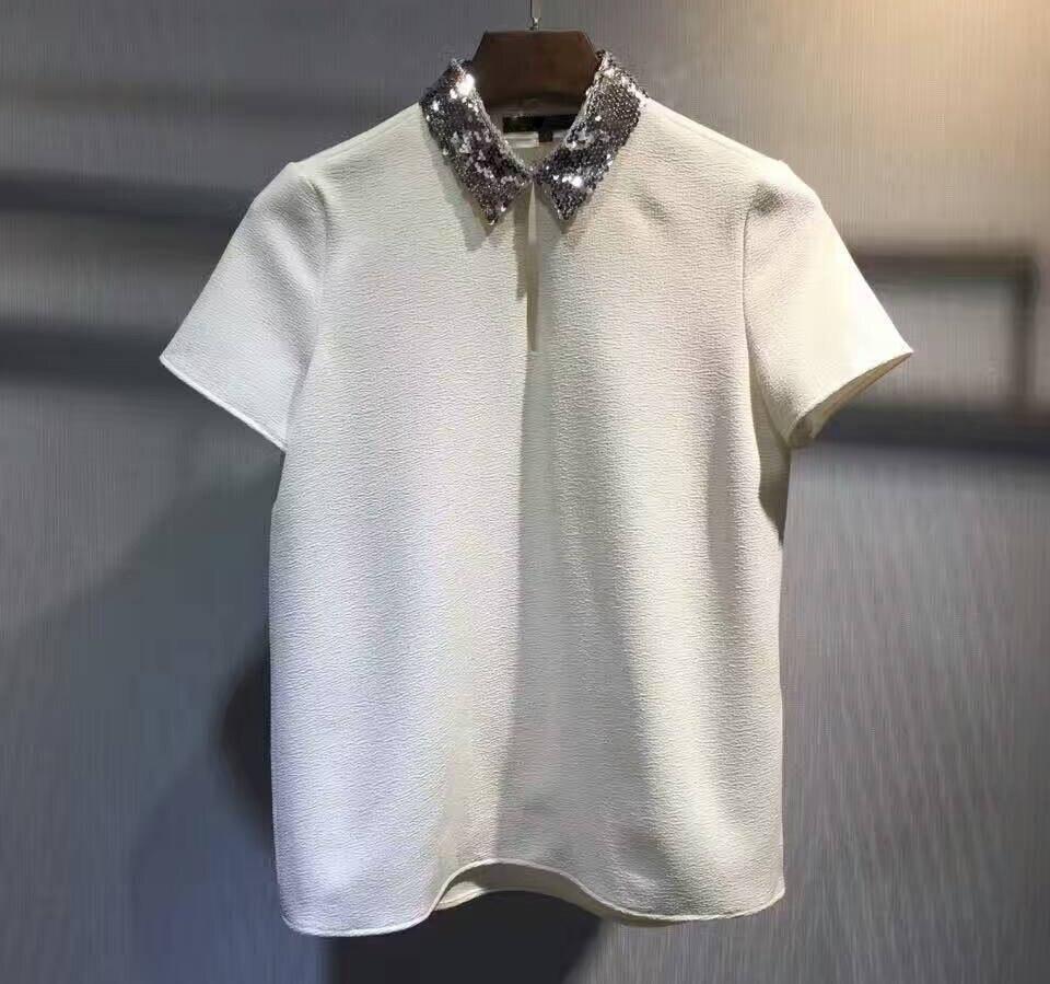 Mode blanc blusas incroyable paillettes col T-shirts pour les femmes, bling bling blouse à manches courtes, femmes élégantes haut court femme