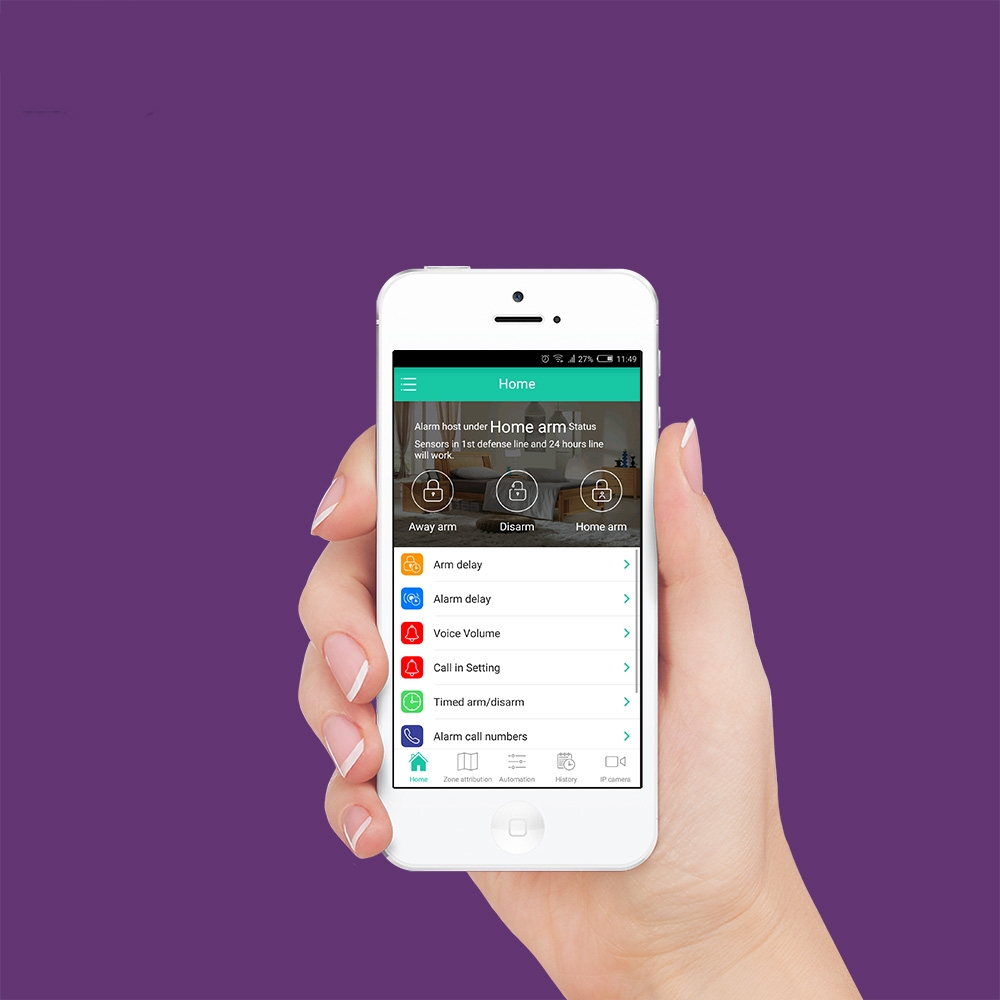 Купить с кэшбэком WIFI GSM Alarm Systems Security Home Smoke Fire Alarm Detector APP Control PIR Motion Sensor DIY KIT For Free Shipping