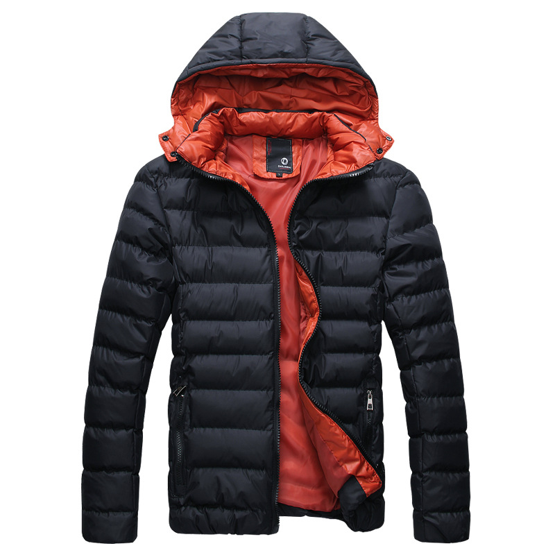 ФОТО Fashion Men Cotton Quilted Coat 2017 Winter Outwear Contrast Color Male Parkas Cotton Padded Jacket Slim Man Thicken Hooded