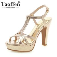 TAOFFEN 2019 Spring Summer Ins Hot T Strap Party Sandals Gladiator Wedding Office Ladies Shoes Women Platform Simple Size 32 43