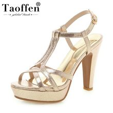 TAOFFEN 2019 Spring Summer Ins Hot T-Strap Party Sandals