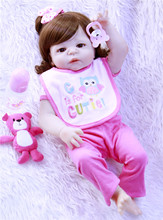 22 55cm curls Realistic Reborn Baby Dolls full Silicone Lifelike Newborn Doll Toys Girl Playmate Gifts For Children Toys DOLLMA