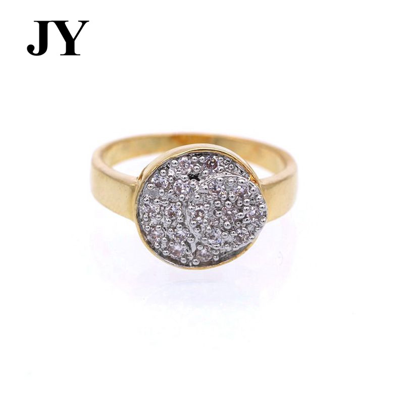 JY Fashion Special Gold Color Rings For Women Elegant Simple Zircon Jewelry Best Cute Party Gift Love Round Shape Woman Anel