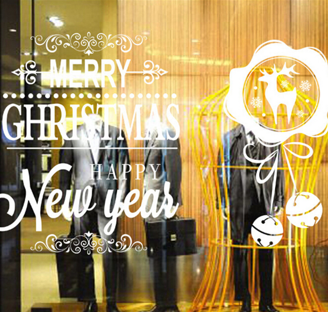 The new shop window display white deer festive bell wall stickers ...