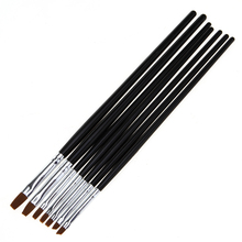 Monja 5Pcs/Set Nail Art Drawing Painting Tips Dust Cleaning Brush Builder Acrylic UV Gel Extension Design Flat Pen Manicure Tool