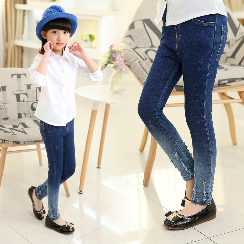 все цены на New teenage girls jeans cotton girls leggings pants fashion teenagers baby leggings for kids children brand jeans 4-12 year
