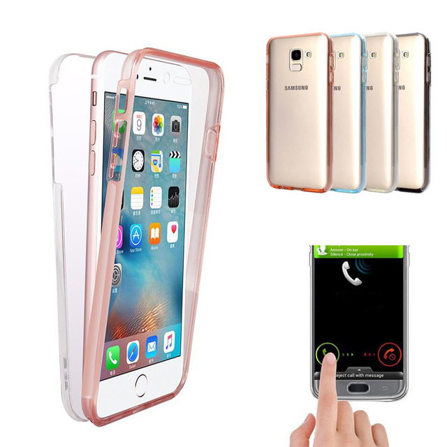 360 Clear Silicone Case For Samsung Galaxy Note 9 8 Samsung S9 S8 Plus S7 Edge Galaxy J4 J6 2018 J5 J7 Pro 2017 Smart Full Cover