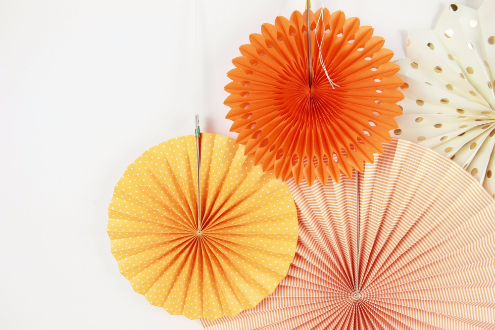 New Orange Set Paper Crafts Home Hanging Decoration Party Birthday Wedding Baby Shower Sunshine Bright Color Paper Fan 4