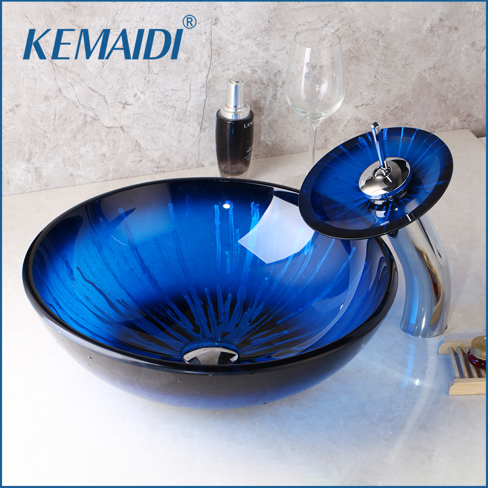 KEMAIDI Blue Round Tempered Glass Vessel Sink Mixer Deck Mounted Basin Faucets Set With Waterfall Faucet With Pop - Up Drain