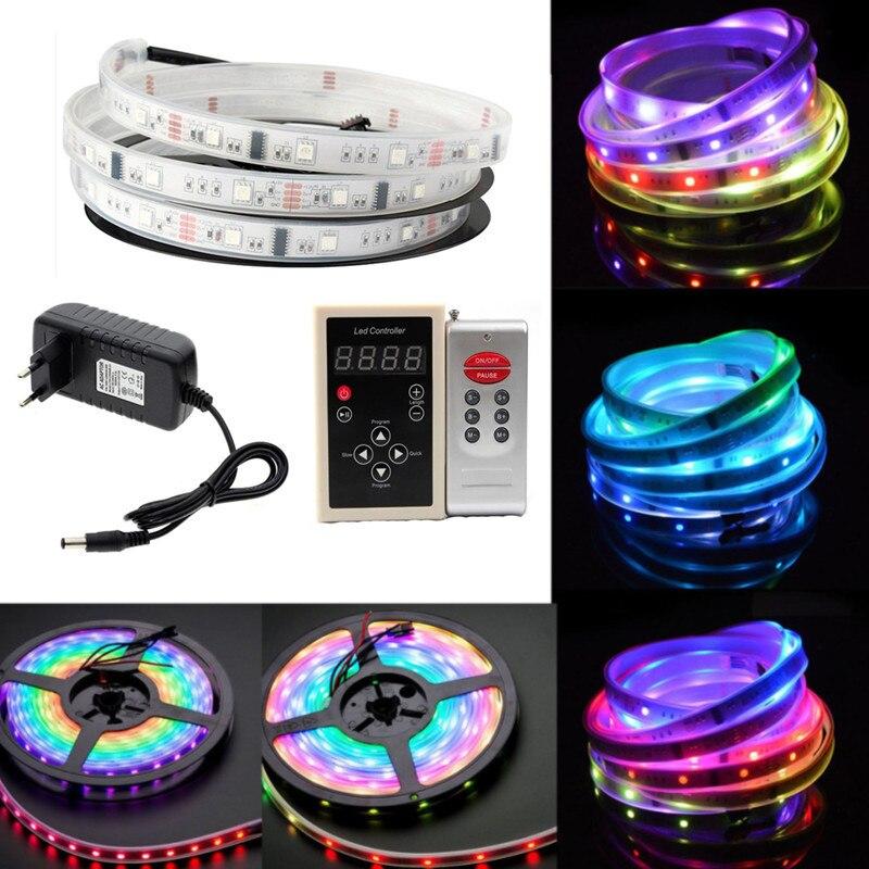 5 M 6803 IC Dream Color 5050 RGB bande LED flexible 30 LED/m IP67 étanche + 133 programme contrôleur magique RF + adaptateur 12 V