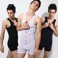 Coverall Verão Sexy Bodysuit Um Pedaço Colete Dos Homens do Algodão Tops Homens corpo Shaper Magro Macacões Conjunto de Roupas Camisa Ginásio (M L XL)