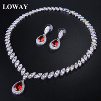 LOWAY Ruby Water Drop Necklace Earrings Red Cubic Zirconia Diamond Jewelry Set Gift For Women XL1901