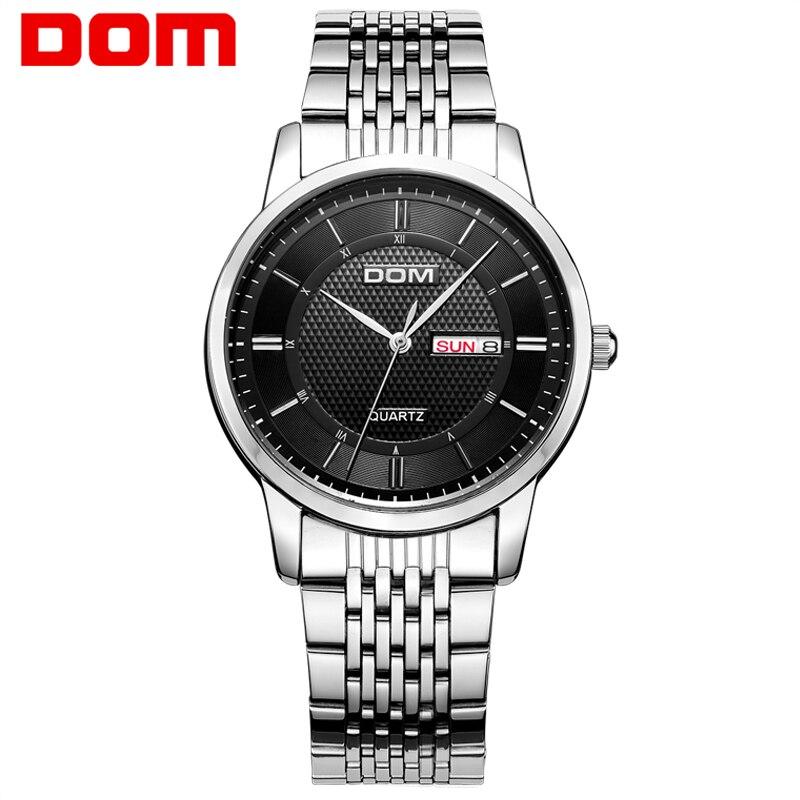 DOM 2016 Men Watches Fashion Personality Quartz Watch Leather Belt Vintage Simple Casual Waterproof Wristwatch