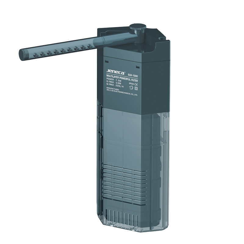 220L/h JENECA GLB 1000 Submersible Aquarium Corner Water Filter Oxygen Air Pump with Spray Bar Media Set Adjustable Water Flow