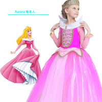 Christmas Kid Sleeping Beauty Aurora Cosplay Costume Princess Aurora Dresses For Girls Halloween Costume Tulle Long