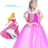 Christmas Kid Sleeping Beauty Aurora Cosplay Costume Princess Aurora Dresses For Girls Halloween Costume Tulle Long