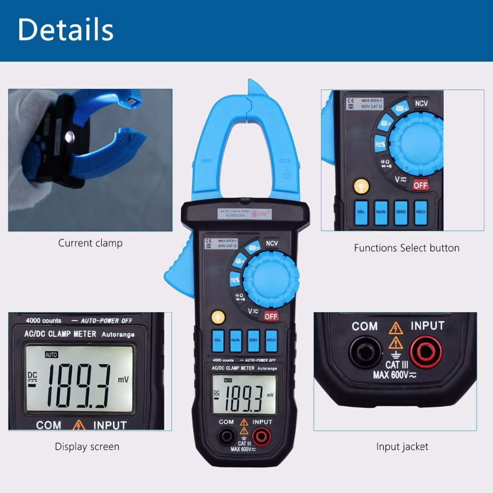 Tools : BSIDE Digital Multimeter 400A AC DC Current Clamp Meter ACM03 PLUS Capacitance Frequency Tester Induction Voltage Alarm