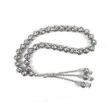 Tesbih loja nova chegada 1 peças de luxo 10mm prata redonda oco liga contas oração muçulmana misbaha
