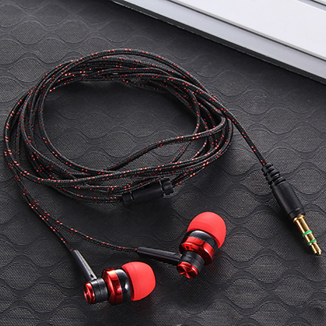 High Quality Wired Earphone Brand New Stereo In-Ear 3.5mm Nylon Weave Cable Earphone Headset With Mic For Laptop Smartphone  & 2