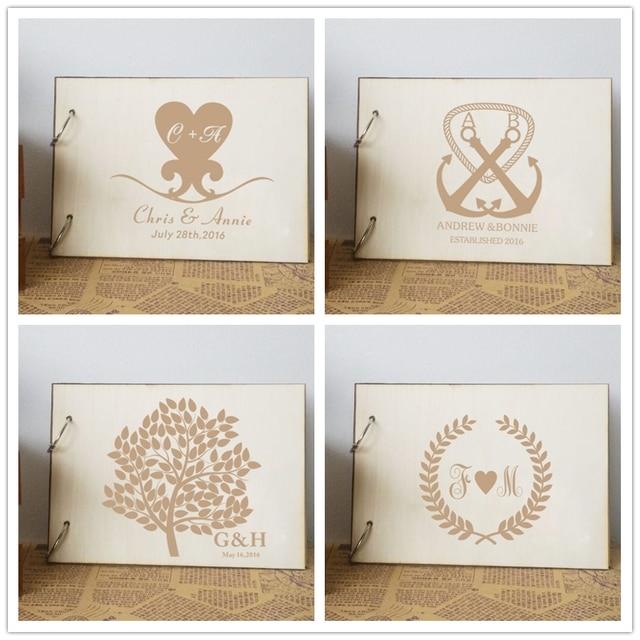 Personalized Wedding Guest Book Custom Photo Album Diy Rustic AlbumWooden