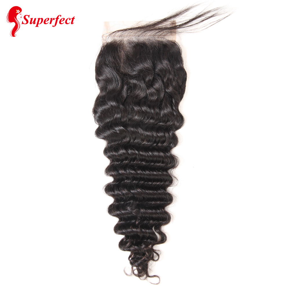 Image 2 - Superfect Hair Lace Closure 4*4 Brazilian Deep Wave Closure 8 24inches Remy Human Hair Closure Free Shipping-in Closures from Hair Extensions & Wigs