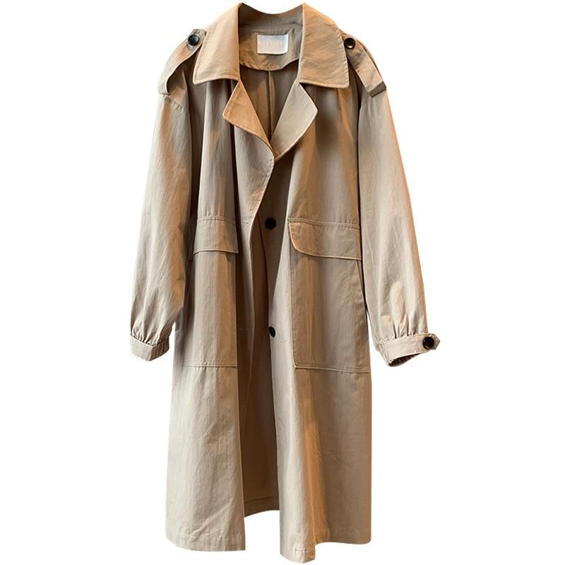 2019 Autumn Women Trench Coat Loose Style Clothes Women Long Coat Khaki Casaco Feminino Harajuku Abrigo