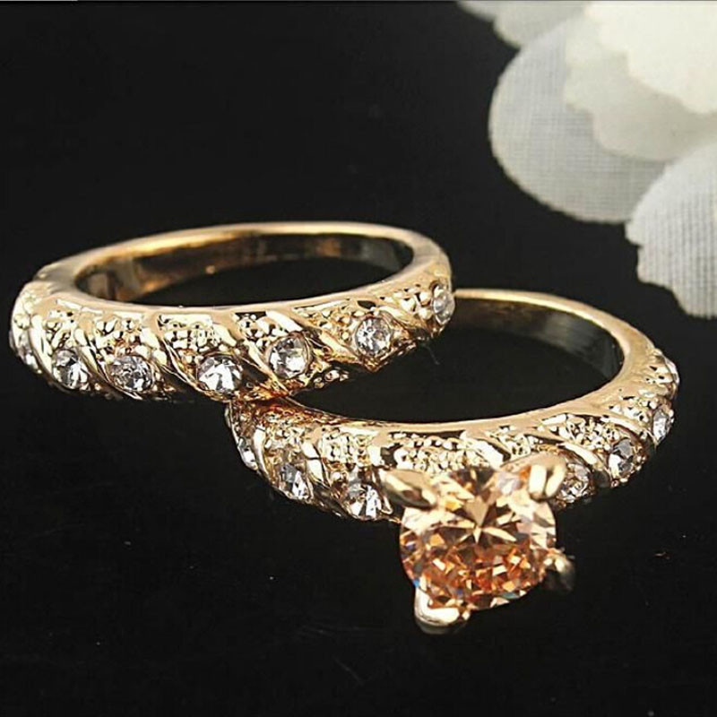 1set His Hers Solid Gold Filled Engagement Ring Wedding Band Set Men Womens Couple Ring Jewelry