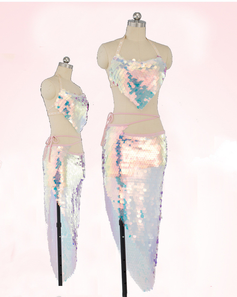 Women Belly Dance Costume Set Lady Bellydance Top+ Hip Scarf Wrap Belt Sequin Fish Scale Accessories 2pcs Pink Sequin Dancewear