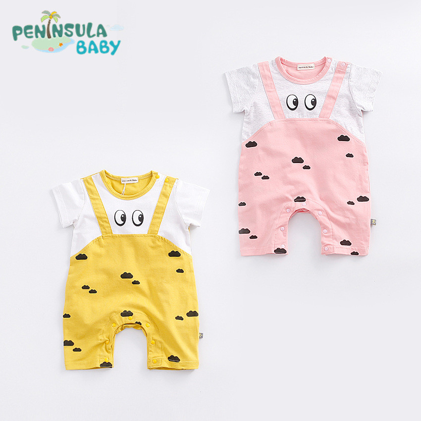 2017 Newborn Cute Clothes Summer Baby Rompers Short Sleeve Cotton Cartoon Cows Clouds One-pieces Jumpsuit Baby Boy Girl Clothing