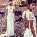 Коротким рукавом сексуальный V шеи старинные кружева пляж Boho свадебное платье чешские платья vestido де noiva barato