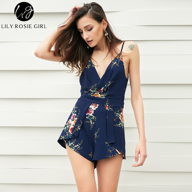 a41aa539fc37 Lily Rosie Girl Women 2018 Strap Style Floral Print Sexy Party Romper White  Boho Summer Beach