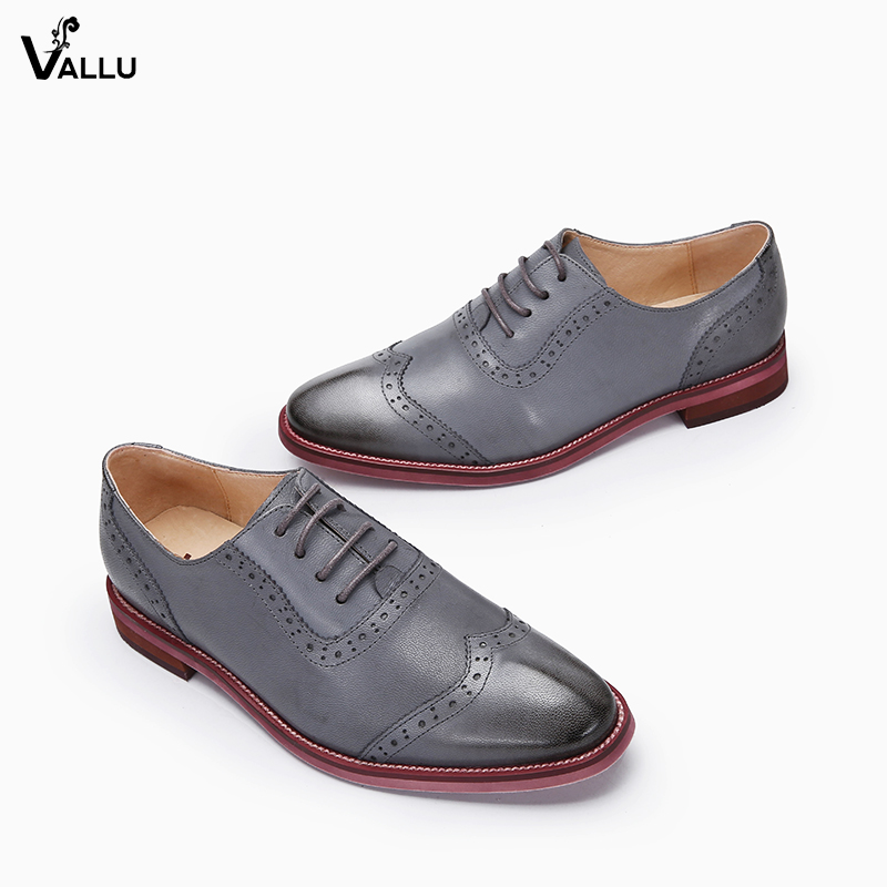 2018 VALLU Women Brogue Shoes Wingtip Perforated Round Toes Lace Up Genuine Leather Vintage Oxfords Women Flats Shoes Plus Size plus size 32 45 brogue shoes women genuine full grain leather round toe lace up 2018 fashion handmade lady flats wingtip oxfords
