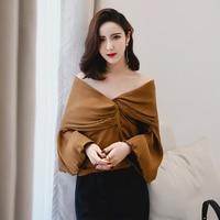 Summer Women's Sexy Deep V neck Chiffon Blouse Pleat Puff Sleeves Tops Beach Shirts 2018 Spring New Stylish Irregular