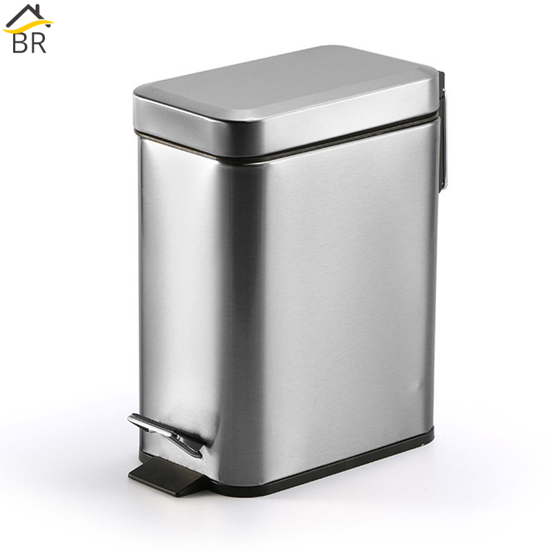 US $32.99 31% OFF|BR Silent Stainless Steel Trash Can Bathroom Kitchen  Living Room Office 5L Garbage Dust Bin Storage Bucket Storage Box Waste  Bin-in ...